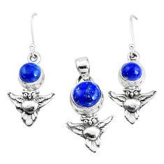 Natural blue lapis lazuli 925 silver pendant owl earrings set p38646