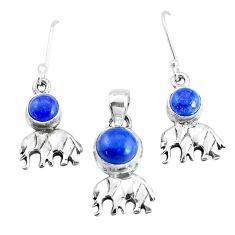 6.00cts natural blue lapis lazuli silver elephant pendant earrings set p38652