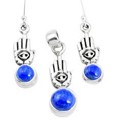 Natural blue lapis lazuli silver hand of god hamsa pendant earrings set p38619