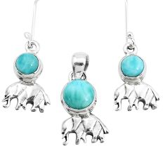 6.79cts natural blue larimar 925 silver elephant pendant earrings set p38585