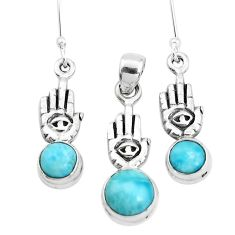 Natural blue larimar 925 silver hand of god hamsa pendant earrings set p38555