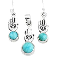 Natural blue larimar 925 silver hand of god hamsa pendant earrings set p38597