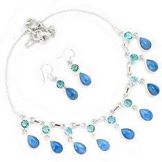 Natural blue owyhee opal 925 sterling silver earrings necklace set h90960