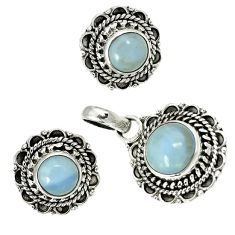 Natural blue owyhee opal 925 sterling silver pendant earrings set jewelry h92306