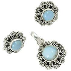 Natural blue owyhee opal 925 sterling silver pendant earrings set jewelry h92346