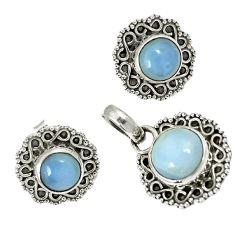 Natural blue owyhee opal 925 sterling silver pendant earrings set jewelry h92359