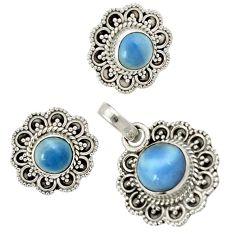 Natural blue owyhee opal 925 sterling silver pendant earrings set jewelry j1382