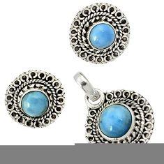 Natural blue owyhee opal 925 sterling silver pendant earrings set jewelry j1392