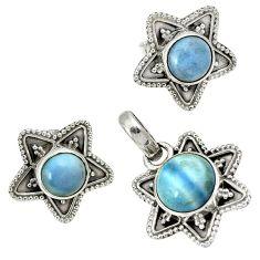 Natural blue owyhee opal 925 sterling silver pendant earrings set jewelry j1414