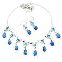Natural blue owyhee opal topaz 925 silver earrings necklace set jewelry h90134
