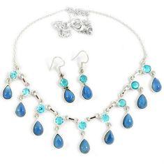 Natural blue owyhee opal topaz 925 sterling silver earrings necklace set j13357