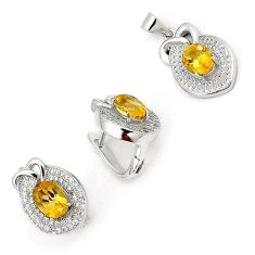 NATURAL BRAZILIAN YELLOW CITRINE TOPAZ 925 STERLING SILVER SET JEWELRY H20819