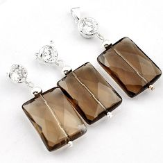 Natural brown smoky topaz white topaz 925 silver pendant earrings set h50099