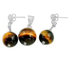 32.60cts natural brown tiger's eye 925 silver pendant earrings set c4489