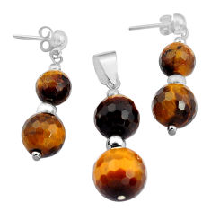29.55cts natural brown tiger's eye 925 silver pendant earrings set c4490