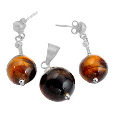 31.00cts natural brown tiger's eye 925 silver pendant earrings set c4493