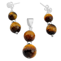 28.68cts natural brown tiger's eye 925 silver pendant earrings set c4494