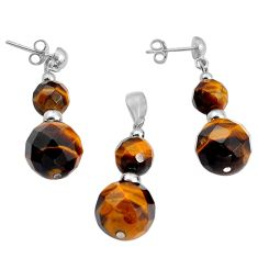 31.00cts natural brown tiger's eye 925 silver pendant earrings set jewelry c4492