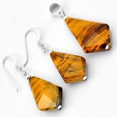 Natural brown tigers eye fancy 925 sterling silver pendant earrings set h54104