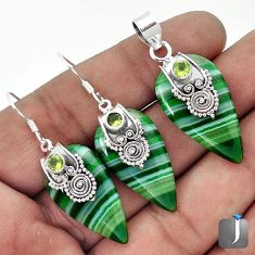 NATURAL GREEN BOTSWANA AGATE PERIDOT 925 SILVER PENDANT EARRINGS SET G32621
