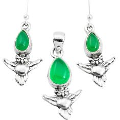 5.81cts natural green chalcedony 925 silver owl pendant earrings set p38542