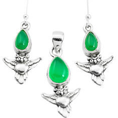 6.32cts natural green chalcedony 925 silver owl pendant earrings set p38572
