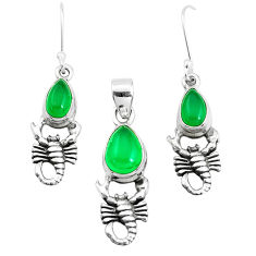 5.98cts natural green chalcedony 925 silver scorpion pendant earrings set p38591