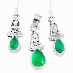 6.32cts natural green chalcedony silver buddha charm pendant earrings set p38657