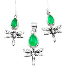 5.98cts natural green chalcedony silver dragonfly pendant earrings set p38511