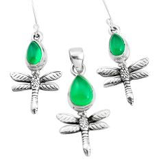 6.31cts natural green chalcedony silver dragonfly pendant earrings set p38526