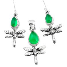 6.15cts natural green chalcedony silver dragonfly pendant earrings set p38586