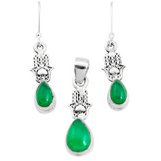 Natural green chalcedony silver hand of god hamsa pendant earrings set p38550