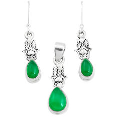 6.32cts natural green chalcedony silver hand of god pendant earrings set p38524