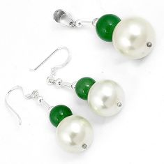 Natural green jade pearl 925 sterling silver pendant earrings jewelry set h46116