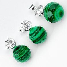 Natural green malachite (pilot's stone) 925 silver pendant earrings set h50109