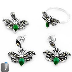 NATURAL GREEN MALACHITE DRAGONFLY 925 SILVER PENDANT RING EARRINGS SET E90199