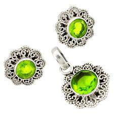 Natural green peridot 925 sterling silver pendant earrings set jewelry j1430