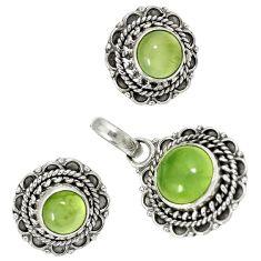 Natural green prehnite 925 sterling silver pendant earrings set jewelry j1385