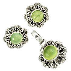 Natural green prehnite 925 sterling silver pendant earrings set jewelry j1387