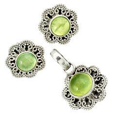 Natural green prehnite 925 sterling silver pendant earrings set jewelry j1389