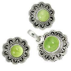 Natural green prehnite 925 sterling silver pendant earrings set jewelry j1395