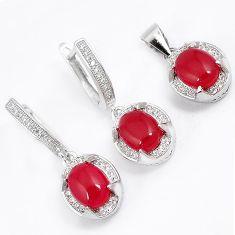 Natural honey onyx white topaz 925 sterling silver pendant earrings set h53301