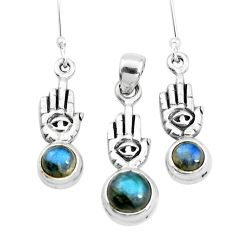 Natural labradorite 925 silver hand of god hamsa pendant earrings set p38630