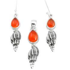 6.95cts natural orange cornelian (carnelian) silver pendant earrings set p38580