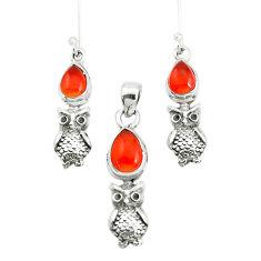 6.15cts natural orange cornelian 925 silver flower pendant earrings set p38549
