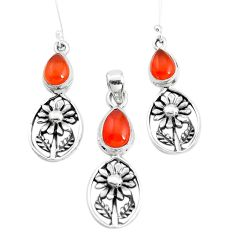 6.95cts natural orange cornelian 925 silver flower pendant earrings set p38589
