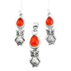 6.31cts natural orange cornelian 925 silver owl pendant earrings set p38533
