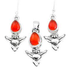 6.32cts natural orange cornelian 925 silver owl pendant earrings set p38570