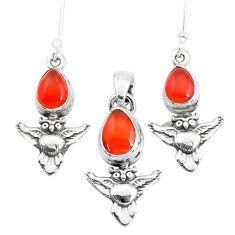 7.02cts natural orange cornelian 925 silver owl pendant earrings set p38593