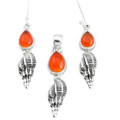 6.95cts natural orange cornelian 925 silver pendant earrings set p38551